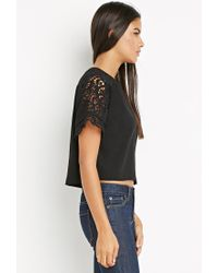 Forever 21 | Black Contemporary Crochet-paneled Raglan Top | Lyst