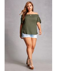 Forever 21 - Green Plus Size Off-the-shoulder Top - Lyst