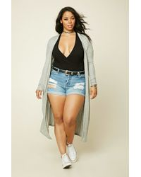 Forever 21 | Gray Plus Size Longline Cardigan | Lyst
