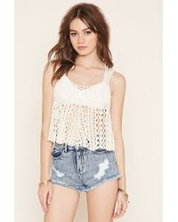 Forever 21 | Natural Open Knit Jumper Tank | Lyst