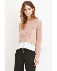 Forever 21 - Purple Contemporary Chiffon-layered Sweater - Lyst