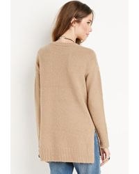 Forever 21 | Brown Vented Fuzzy Sweater | Lyst