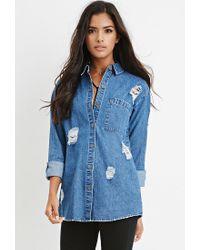 Forever 21 | Blue Longline Distressed Denim Shirt | Lyst