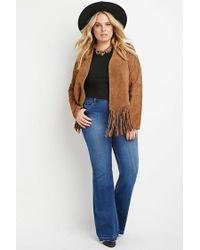 Forever 21 | Blue Plus Size Frayed Jeans | Lyst