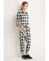 Forever 21 - Black Buffalo Plaid Jumpsuit - Lyst
