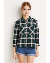 Forever 21 | Green Boxy Plaid Flannel Shirt | Lyst