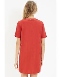 Forever 21 - Red Lace-up Shift Dress - Lyst