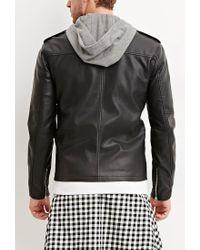Forever 21 - Black Hooded Faux Leather Moto Jacket for Men - Lyst