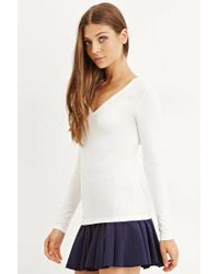 Forever 21 | White Long Sleeve V-neck Tee | Lyst