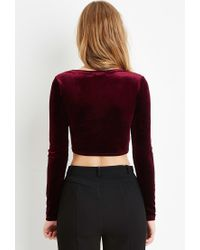 Forever 21 - Purple Velvet Twisted-front Crop Top - Lyst