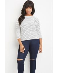 Forever 21 - Black Boat-neck Micro-striped Top - Lyst