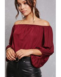 Forever 21 - Red Off-the-shoulder Satin Top - Lyst