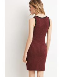 Forever 21 - Red Ribbed Knit Bodycon Dress - Lyst