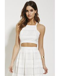 Forever 21 | White Contemporary Textured Crop Top | Lyst