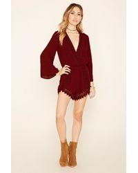 Forever 21 - Red Crochet-trim Gauze Romper - Lyst