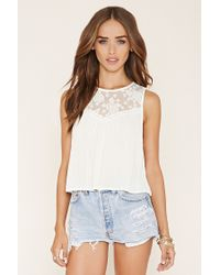Forever 21 | Natural Crinkled Lace-paneled Top | Lyst
