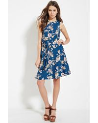 Forever 21 | Blue Contemporary Floral Print Dress | Lyst