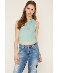 Forever 21 - Blue Ribbed Knit Top - Lyst