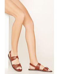 Forever 21 | Brown Buckled Faux Leather Sandals | Lyst