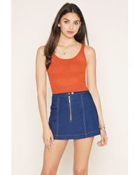 Forever 21 - Blue Open Knit Crop Top - Lyst
