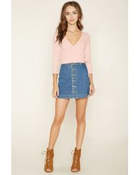 Forever 21 - Pink Surplice Crop Top - Lyst