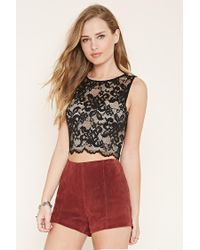 Forever 21 | Black Floral Lace Crop Top | Lyst
