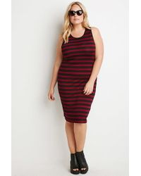 Forever 21 | Purple Plus Size Striped Midi Dress | Lyst