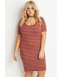 Forever 21 | Brown Stripe Ribbed Dress | Lyst