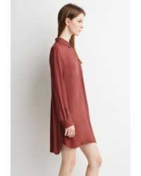 Forever 21 - Brown Zippered Shirt Dress - Lyst