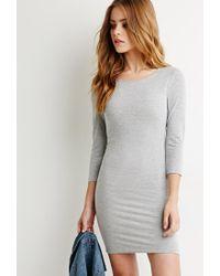 Forever 21   Gray Classic Midi Dress   Lyst