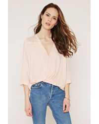 Forever 21 | Pink Contemporary Lace-paneled Top | Lyst