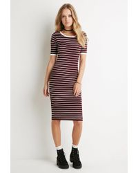 Forever 21 | Purple Striped-sleeve Tee | Lyst