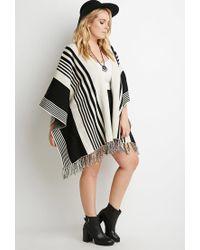 Forever 21 - Black Plus Size Mixed Stripe Fringed Poncho - Lyst