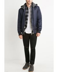 Forever 21 - Blue Padded Nylon Hooded Jacket for Men - Lyst