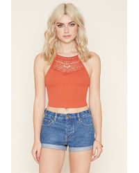 Forever 21 | Pink Crochet-paneled Crop Top | Lyst