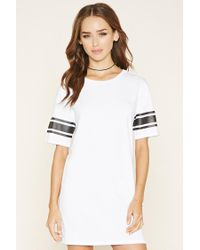 Forever 21 - White Varsity-striped T-shirt Dress - Lyst