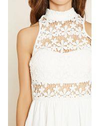 Forever 21 - White Lovecat Crochet-paneled Romper - Lyst