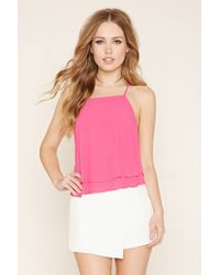 Forever 21 | Pink Strappy Y-back Layered Cami | Lyst