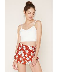 Forever 21 | Red Floral Mini Skirt | Lyst