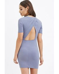 Forever 21 | Blue Cutout-back Ribbed Dress | Lyst