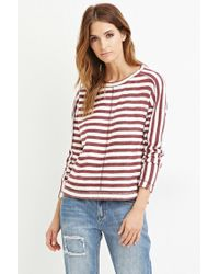 Forever 21 - Purple Contemporary Striped Reverse French Terry Top - Lyst