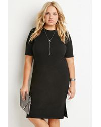 Forever 21 | Black Plus Size Side-slit Midi Dress | Lyst