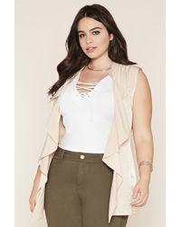Forever 21 | Natural Plus Size Drape-front Belted Vest | Lyst