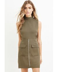 Forever 21 - Green Zippered Mini Sheath Dress - Lyst