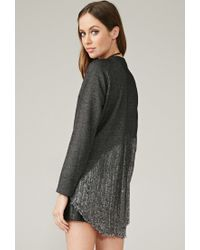 Forever 21 | Black Marina T. Marled Loose Knit-paneled Top | Lyst