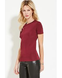 Forever 21 - Purple Contemporary Stretch Knit Tee - Lyst