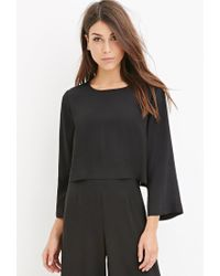 Forever 21 - Black Contemporary Dolman-sleeved Crop Top - Lyst