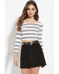 Forever 21 - Natural Striped Off-the-shoulder Crop Top - Lyst