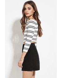 Forever 21 | Natural Striped Off-the-shoulder Crop Top | Lyst