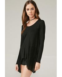 Forever 21 | Black Marina T. Distressed Trapeze Top | Lyst